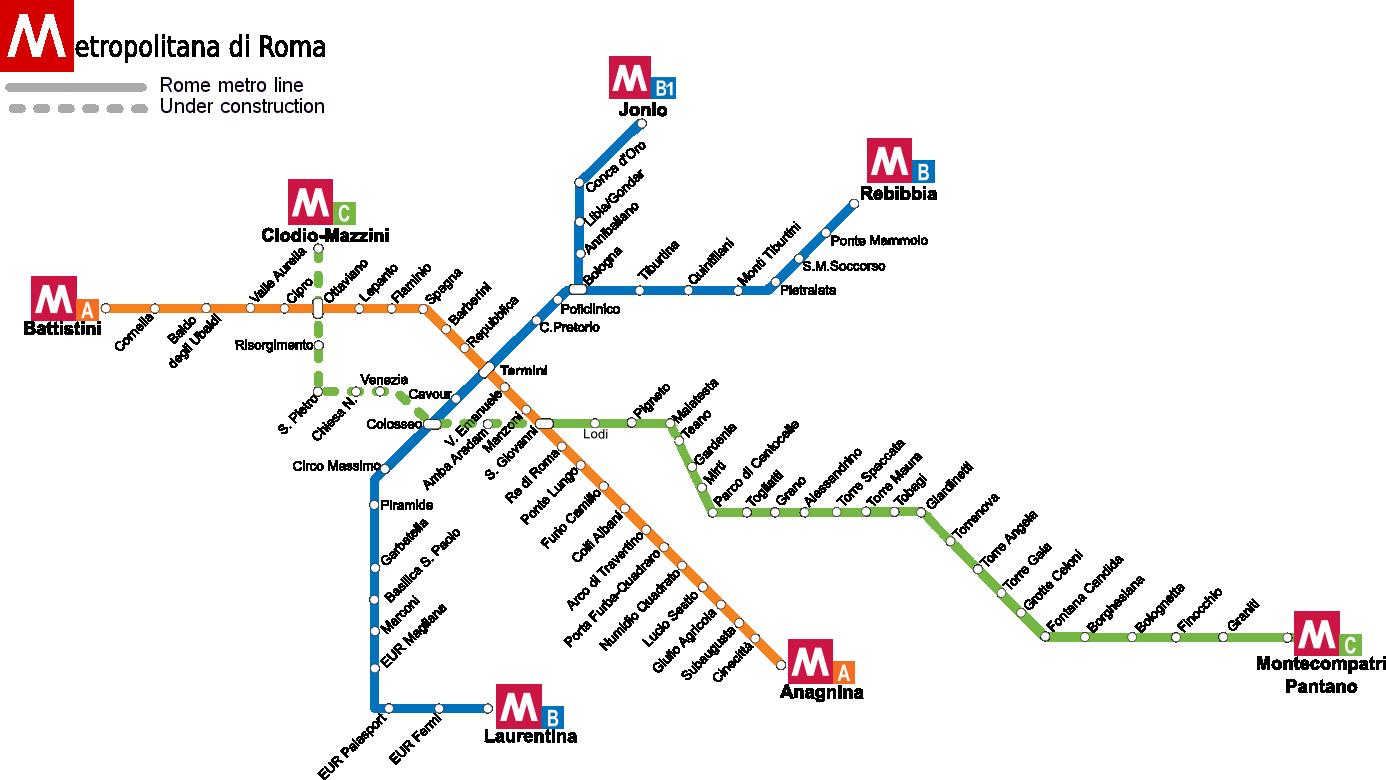 Cartina Stazioni Ferroviarie Roma.Metropolitana Di Roma Mappa Metro Roma